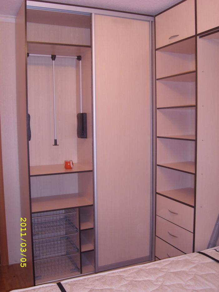 Откидная шкаф-кровать со шкафом-купе и компьютерным столом, .